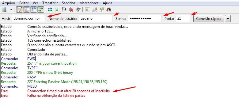 Erro de Conexão FTP ao Utilizar o FileZilla